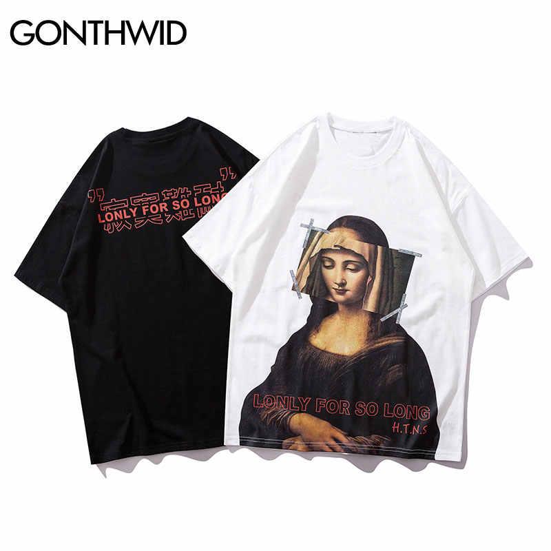 GONTHWID Mona Lisa camisetas Streetwear hombres 2019 Hip Hop Harajuku estilo Casual impreso manga corta Camisetas Hombre moda Top camisetas