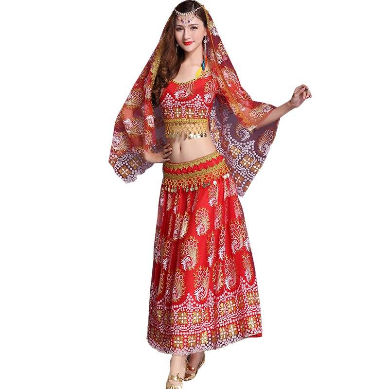 Belly Indian eastern hair swinging baladi dance costumes Bellydance oriental dancing costume robe bra belt skirt dress wear 3099