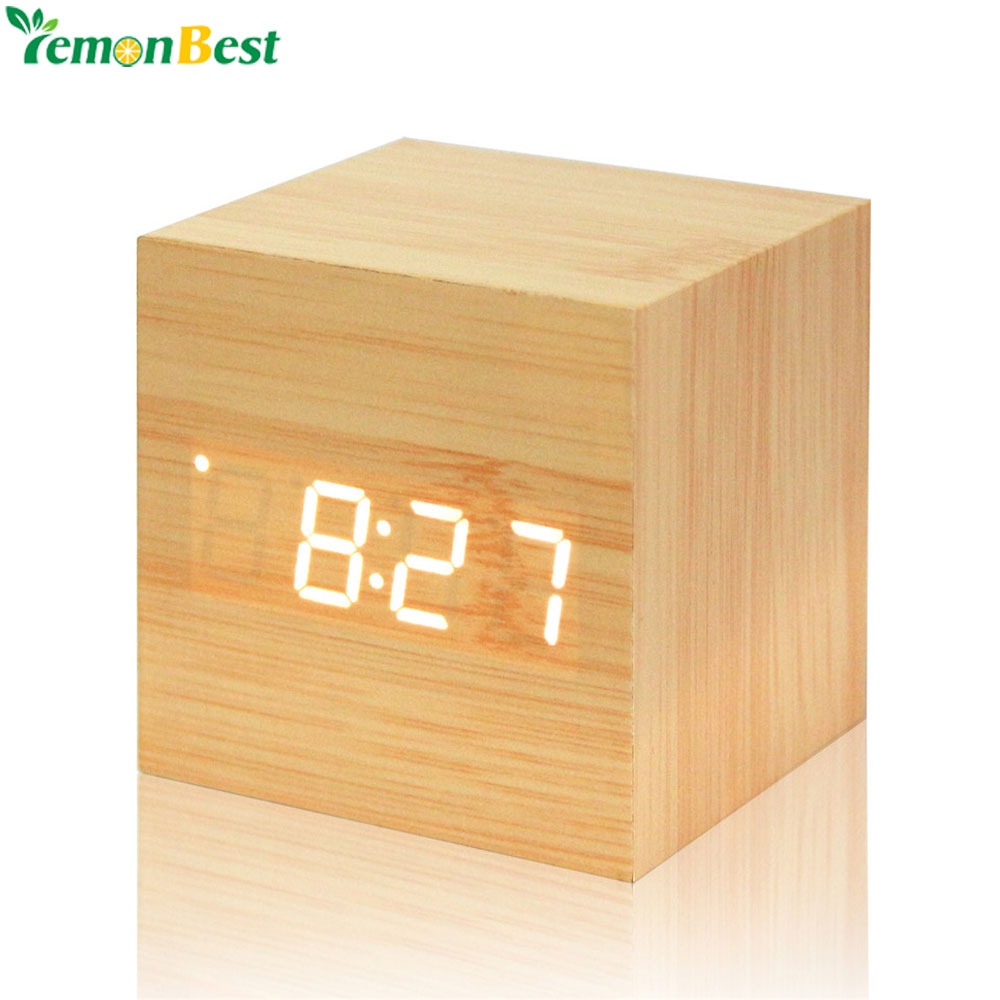Measurement & Analysis Instruments White Wooden Color Led Clock Desk Alarm Clock Despertador Snooz/ Acoustic Control Sensor With Thermometer High Quality Up-To-Date Styling