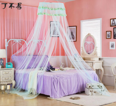 Universal green Elegant Round Lace Insect Bed Canopy Netting Curtain Dome Polyester Bedding Princess Mosquito Net Home Furniture