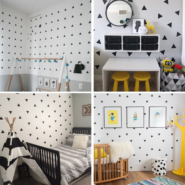 Baby Boy Room Little Triangles Wall Sticker For Kids Decorative Stickers Children Bedroom Nursery Decal 4
