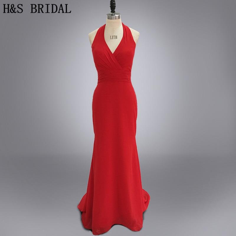 Real photo long chiffon red halter tiered back   bridesmaid     dresses