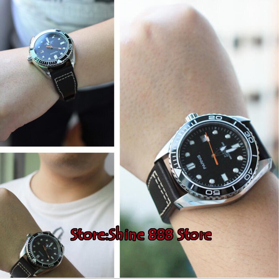 45mm parnis 방수 다이버 자동 시계 기계식 시계 세라믹 회전 베젤 5atm 사파이어 손목 시계 남성 선물-에서기계식 시계부터 시계 의  그룹 3