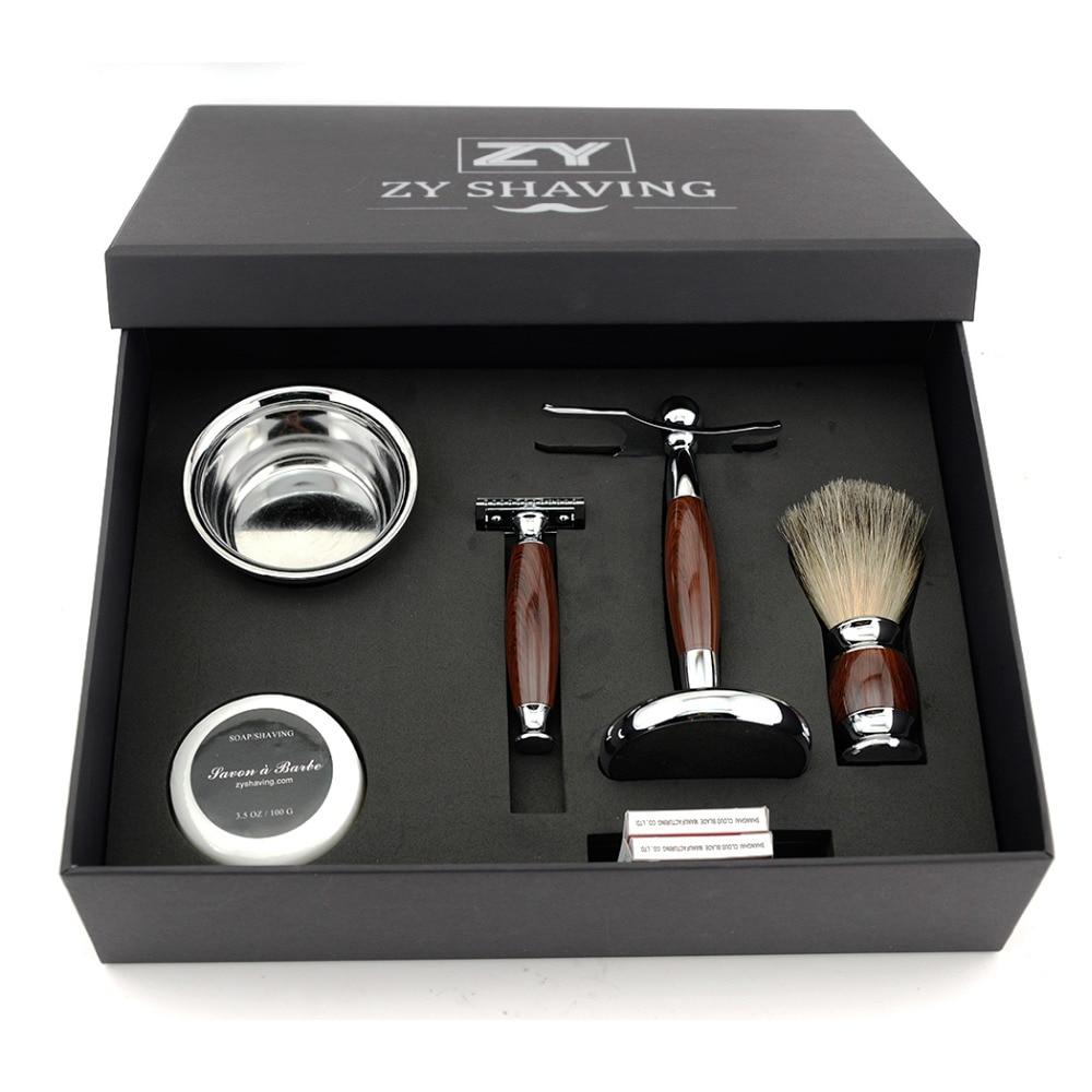 ZY Men Luxury Shaving Gift Set Double Edge Safety Blade Razor Badger Hair Brush Stand Mug Bowl Shave Beard Soap Present merkur 45 bakelite safety razor travel set