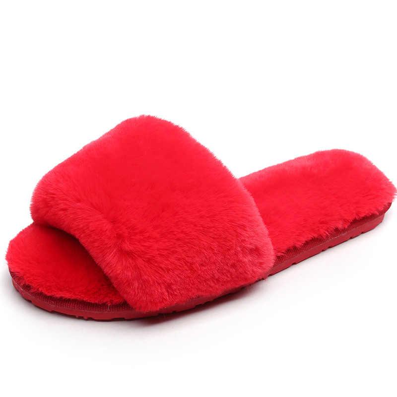 2019 kış kadın ev terlikleri ev ayakkabı taklit kürk moda sıcak ayakkabı kadın daireler üzerinde kayma slaytlar ev terliği boyutu 35-40