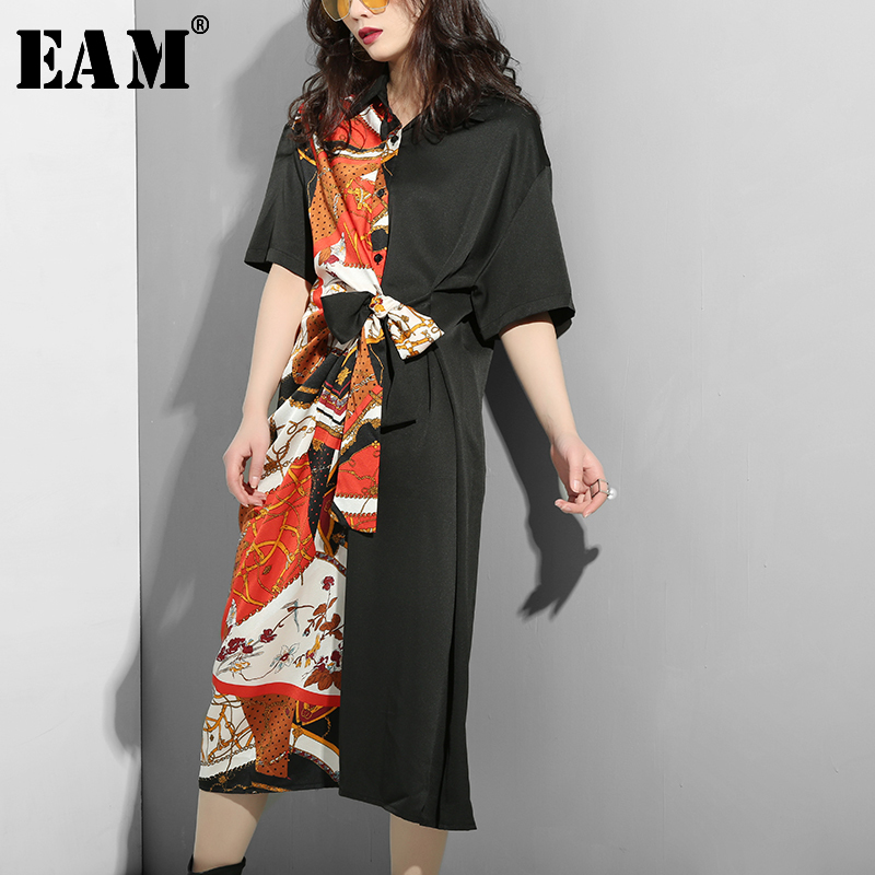 [EAM] 2020 New Spring Summer Lapel Half Sleeve Half Side  Pattern Printed Waist Bandage Big Size Dress Women Fashion Tide JS320