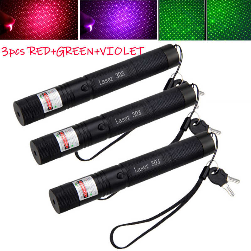 3 Pcs/Lot Powerful device Adjustable Focus laser 10 miles Military Green&Red&Violet Laser Pointer Pen Light Visible Beam Burning