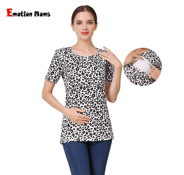 fd82bfde214 Emotion Moms Short Sleeve Leopard Maternity Nursing Clothes Breastfeeding T-Shirt  Pregnancy Tops for pregnant women Summe Tee