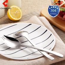 CHANOVEL 304 Stainless Steel Western Silver Spork Salad Spoon Round Salad Fork Fruit Forks Flatware Cutlery Kitchen Dinnerware