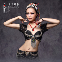 Tribal Bellydance Beading Short Sleeve Lace Clan Sexy Belly Dance Clothes Top For Women Female Gypsy