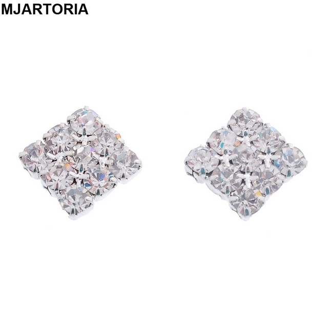 Fashion Crystal Rhinestone Diamante Stud Earring Square Magnetic Clip On Earrings For Womens Silver Tone