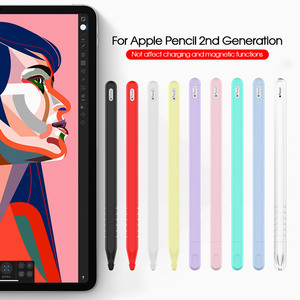 Sleeve Pencil Grip Holder Silicone Case For Apple Pencil 2 Cradle Stand Holder For iPad Pro Stylus Pen Protective Cover(China)