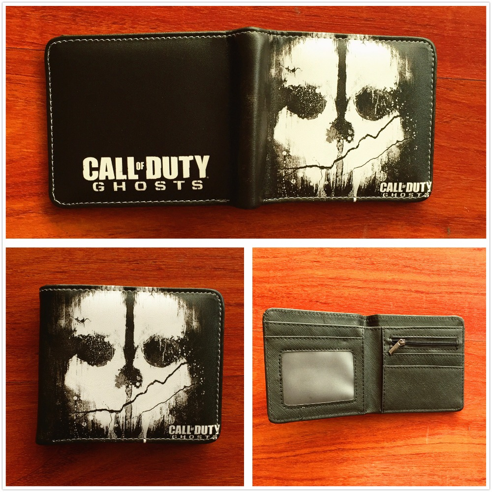 Anime CALL OF DUTY GHOSTS wallet short leather credit card holder purse fashion wallet W ...