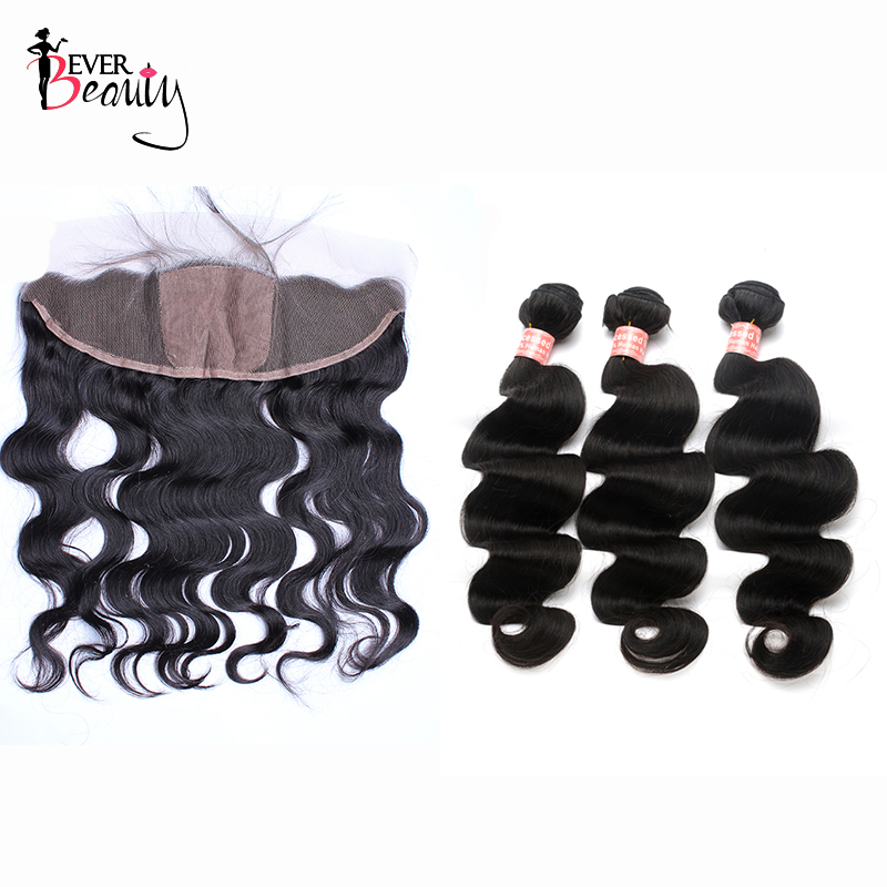 13x4 Silk Base Lace Frontal Closure With 3 Bundles Body Wave Brazilian Human Hair Weave Bundles With Closure Remy Ever Beauty