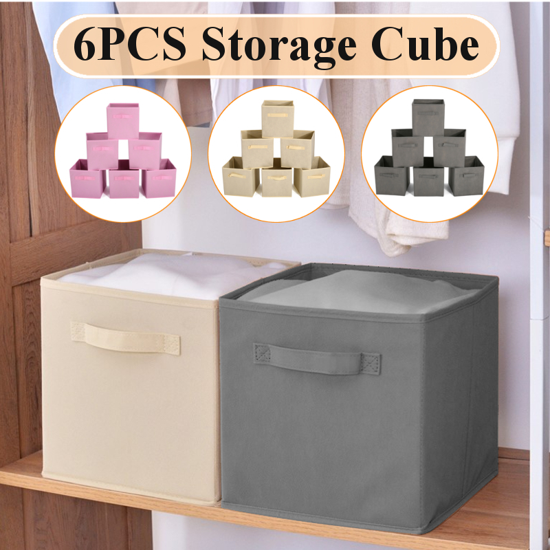 27*27*28cm 6PCS  Foldable Non-woven fabric Storage Bins  Cubes Pull Out with Handles Home Basket Organization for home office