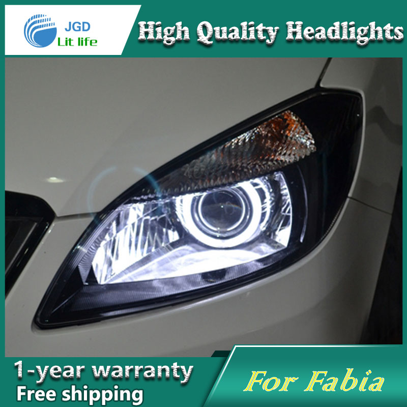 Car Styling Head Lamp case for Skoda Fabia 2007-2015 LED Headlights DRL Daytime Running Light Bi-Xenon HID Accessories цены