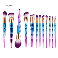 CTYLXYFBrush Unicorn Brush Makeup Brushes Set 12pcs Rhinestone Tools Powder Foundation Eye Lip Concealer Face Colorful