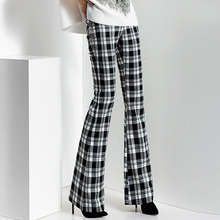 2016 spring and autumn Fashion casual plus size Slim plaid Flares pants trousers clothing clothes for female women ladies girls