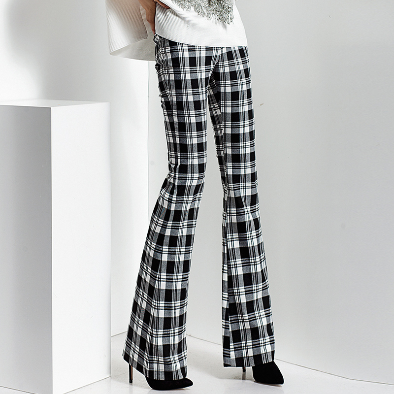 2018 spring and autumn Fashion casual plus size Slim plaid Flares pants trousers clothing clothes for female women ladies girls