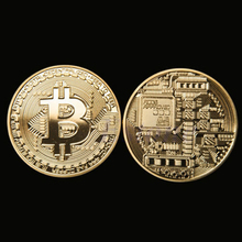 Free shipping 1 x Gold Plated Bitcoin Coin Collectible BTC Coin Art Collection Gift Physical-V115
