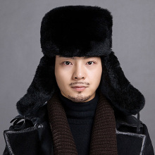 Russian Fur cap Warm autumn winter cap with natural Real rex rabbit fur and leather luxury men