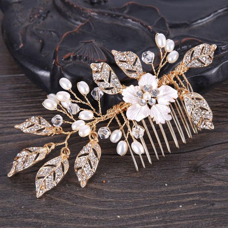 2018 Beauty Hair Combs Handmade Pearls Headdress for Girls Female updo hairstyle Ornament Women Metal Bride Hair Accessories