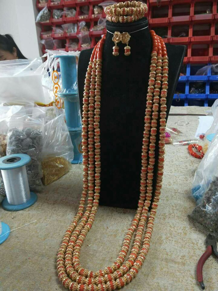 HTB1z1y0aE rK1Rjy0Fcq6zEvVXab Luxury 3 Layers Red Coral Nigerian Wedding African Beads Jewelry Set 45 inches Gold and Coral Long Statement Necklace Set CNR853