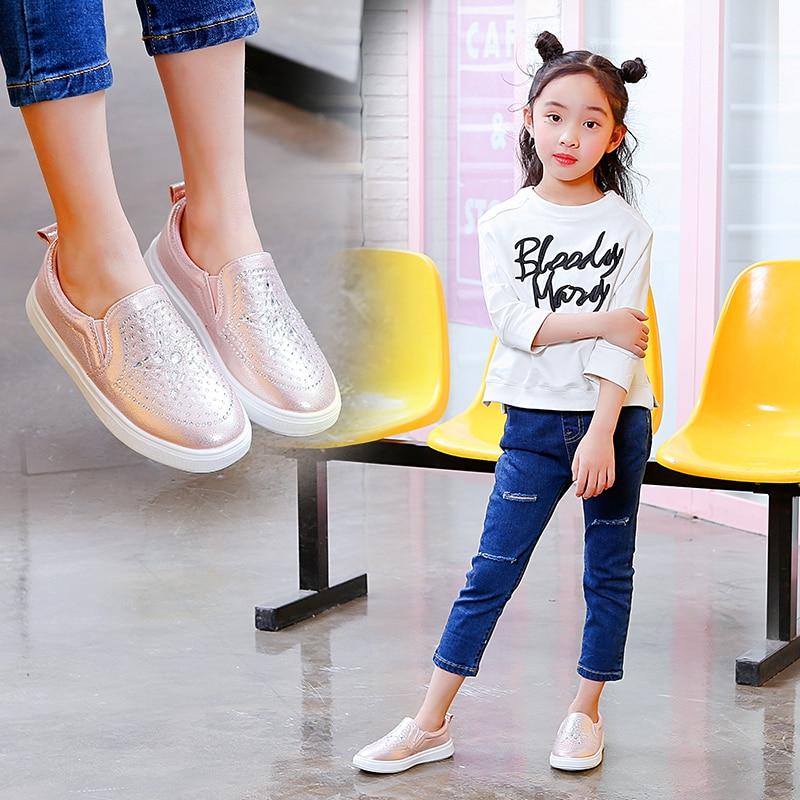 Lente Kinderen Instappen Schoenen Meisjes Casual Sneakers Glanzende - Kinderschoenen - Foto 5
