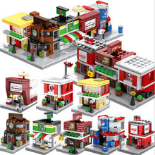 Sembo City Block Street View Series Candy Pizza Ice Cream Fast Food Shop Bookstore Building Blocks MOC Kids DIY Toys(China)