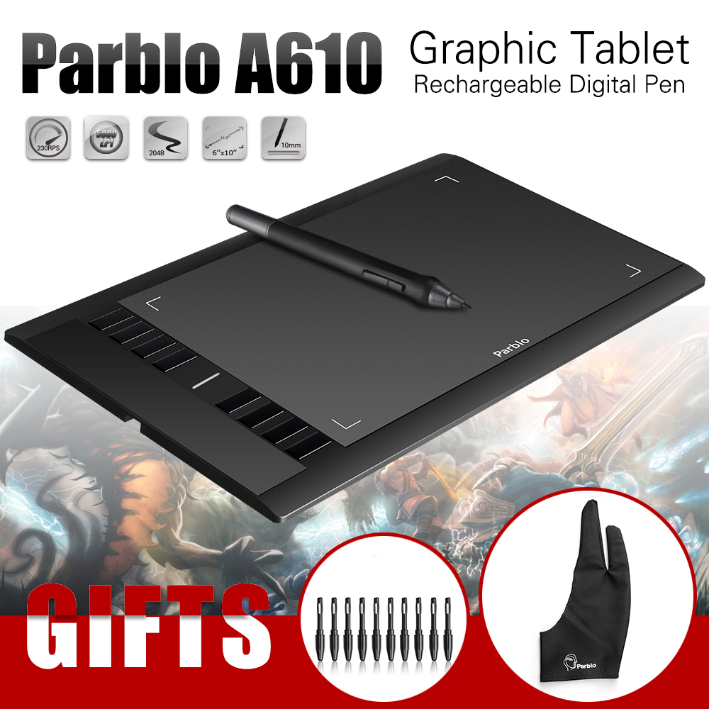 ФОТО Parblo A610 ( +10 Extra Nibs) Graphics Drawing Digital Tablet 2048 Level Pen + Anti-fouling Glove (Gift)