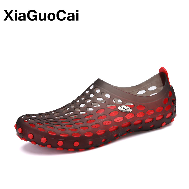 XiaGuoCai Summer Newest Casual Mens Sandals Waterproof Antiskid Garden Shoes Fashion Men Beach Shoes Breathable Clogs Big Size