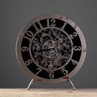 American Nordic Retro Home Furnishing Iron Gear Clock Model of the Housing Decoration Cafe Bar Office Desktop Clock