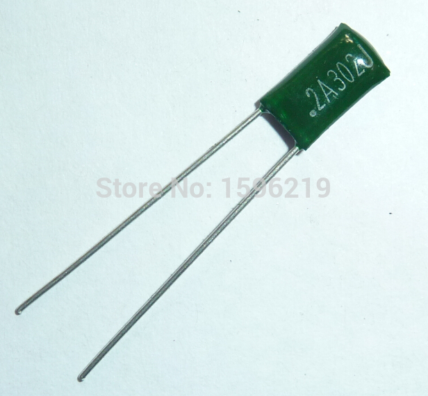 10s Mylar Film Capacitor 100V 2A302J 3000pF 3nF 2A302 5% Polyester Film Capacitor