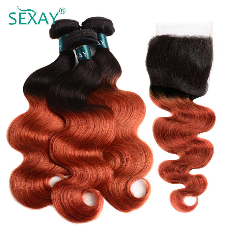 Sexay ombre onda do corpo pacotes de cabelo com fechamento do laço 350 laranja loira dourada remy onda do corpo brasileiro cabelo humano com fechamento