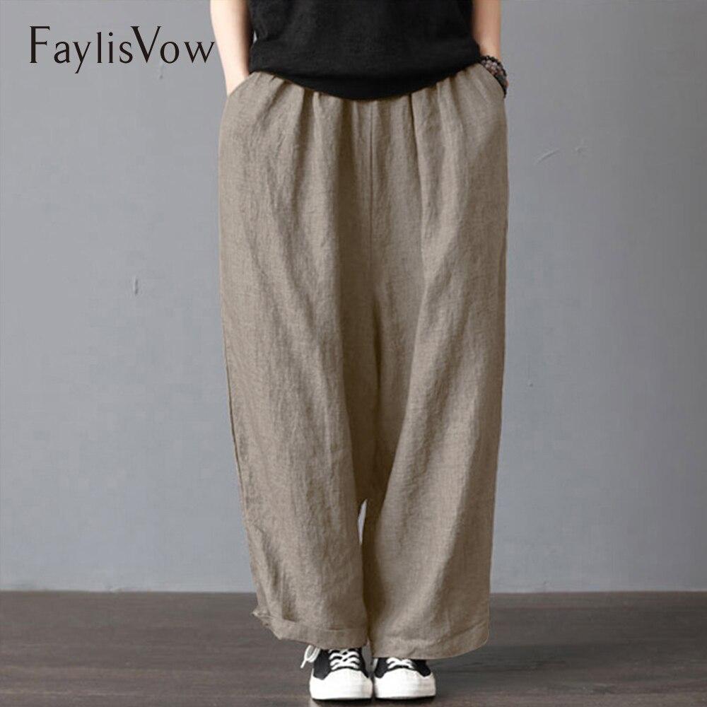 Plus Size Cotton Linen Pants Women Casual Solid Wide Leg Trousers Autumn Large Vintage Pockets Elastic Waist Loose Pants 5xl