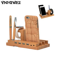 Ynmiwei Wood USB Charging Station Charger Dock Stand Holder For Apple Watch IPhone 6 7 Tablet