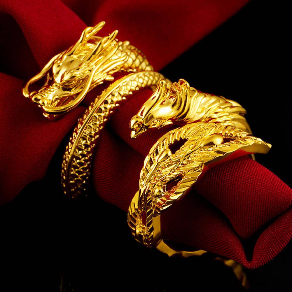 Gold Dragon Phoenix Couples Wedding Rings Adjustable