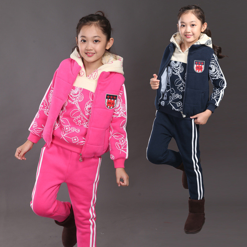 Vest Hoodies Trousers Sets Warm Girl Three-piece Suit Children Clothing Fashion Winter Kids Clothes Print Toddler Tracksuit kocotree suit for 3 12 years old children unisex cap scarf gloves winter warm three piece sets