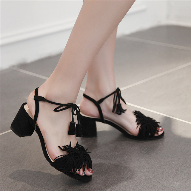 Summer 6cm flowers Thick Genuine leather med High Heels Women square heel Sandals Female Classics Solid Heeel Ladies shoes Women