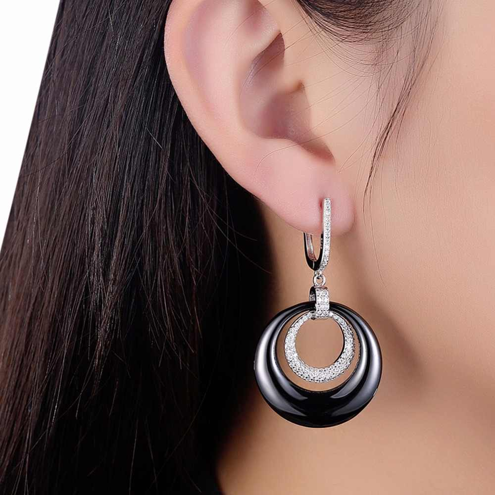Luxury Ceramic Earrings Woman With White Silver Metal Round Wheel Earrings Black And White New Design 2018
