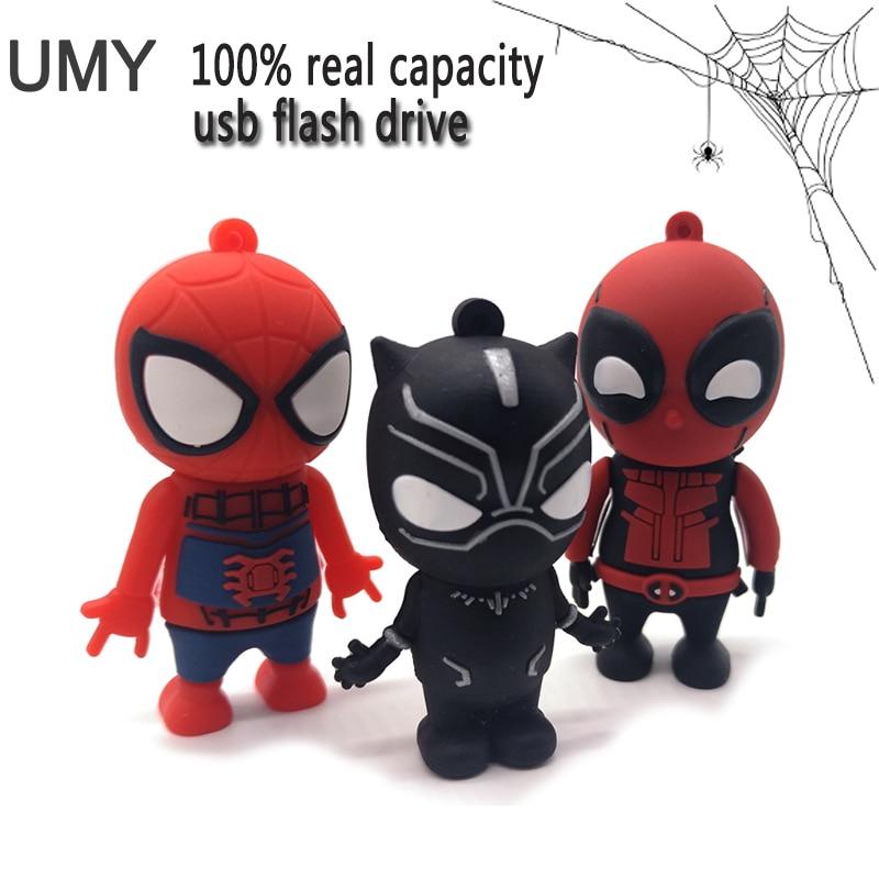 עט כונן cartoon איש עכביש usb דיסק און קי 4 gb 8 gb 16 gb 32 gb 64 gb אמיתי קיבולת זיכרון מקל superhero usb מקל pendrive