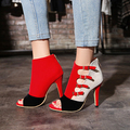 Flock 2017 Fashion Buckle Gladiator Shoes Women High Heels 10cm Mixed Color Casual Shoes Peep Toe Plus Size 41 42 43 33