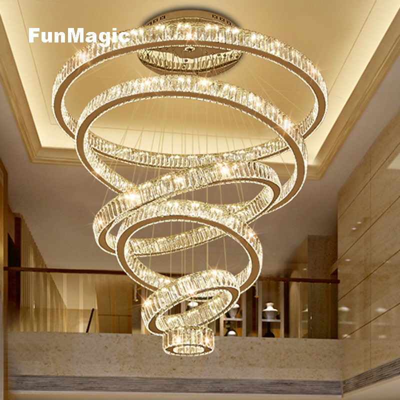 Modern Magnificence Crystal Rings Pendant Lights Villa Living Room Large Hanging Light Dimming Lighting Bedroom Ceiling Fixture