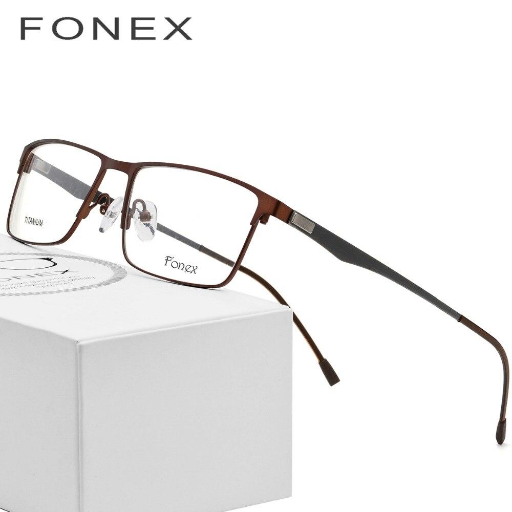 Aleación de titanio gafas hombres ultraligero Plaza miopía anteojos recetados completa Metal marco óptico sin tornillos gafas