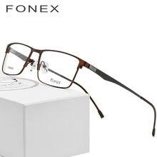 Aleación de titanio gafas hombres ultraligero Plaza miopía anteojos  recetados completa Metal marco óptico sin tornillos gafas 43d0bf6198