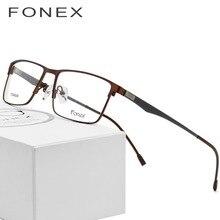973fdada6885a Óculos de Prescrição de Óculos de titânio Quadro Homens Miopia Ultraleve  Quadrado 2018 do Sexo Masculino Sem Parafusos de Metal .