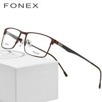 Titanium Glasses Frame Men Ultralight Square Myopia Prescription Eyeglasses 2018 Male Metal Full Optical Frame Screwless Eyewear