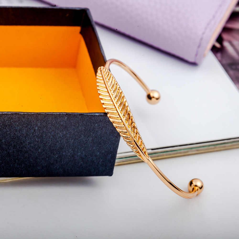 Золотой посеребренный Лист Браслет-манжета для женщин Простые перья незамкнутные браслеты женские модные очаровательные ювелирные аксессуары регулируемые