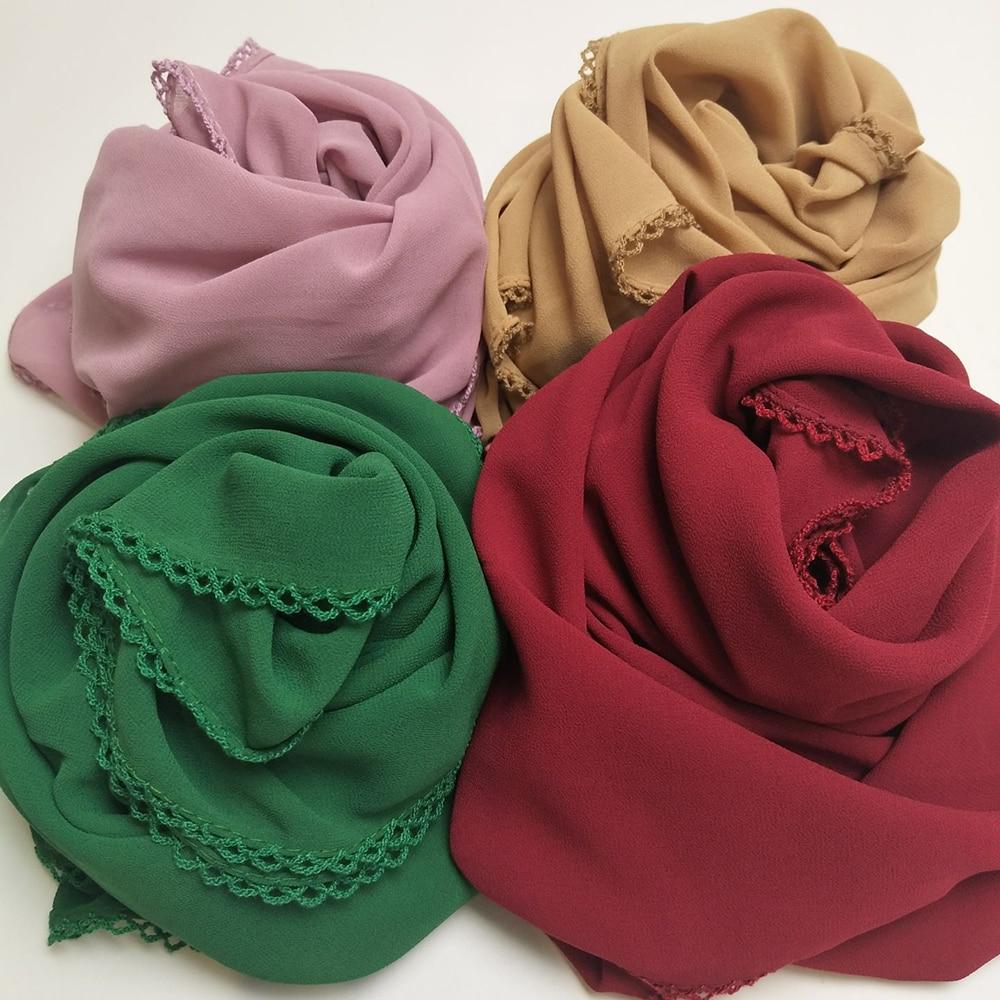 Hot Sale Bubble Chiffon Lace Edges Scarf Muslim Hijab Long Wrap Shawls Plain Headband Scarves Wholesale 180*75cm