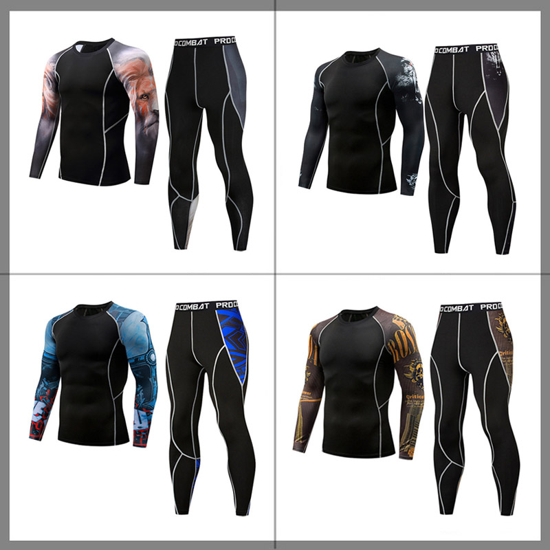 Men Fitness Compression Suit Boy Clothing Compression T-shirt Men Clothing Tracksuit Set Long T- Shirt  Pants Tracksuit Set